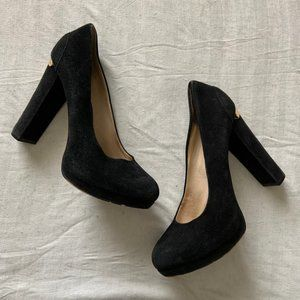 Michael Kors black suede block heel platform pumps